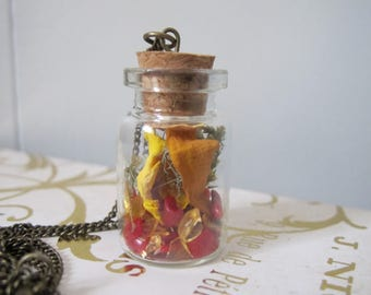 Bamboo Coral Faerie Pixie Terrarium Necklace Flowers Crystal