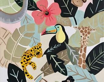 Jungle Print, Jungle Fever, jungle, animal art, elephant, monkey, ape, lion, cheetah, giraffe art Print 8x10