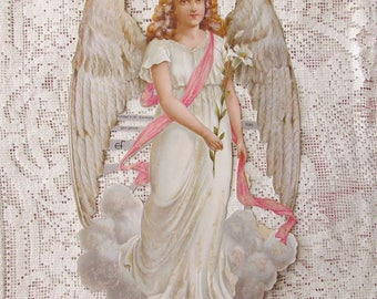 Germany Lithographed Paper Large Victorian Angel Die Cut Scraps Christmas Easter  7086