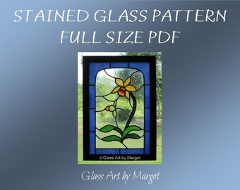 Stained Glass Pattern, Cattleya Orchid, Full Size PDF File, Original Design