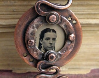 rustic copper pendant MATILDA faces of the past series LONS OOAK origianl handmade pendant