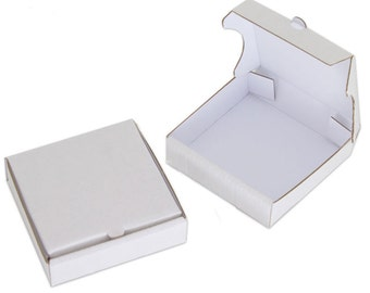 "8 White 4"" Mini Pizza Boxes - Sturdy cardboard! (Food Box, Party Favor, Cake Box, Cookie Box)"