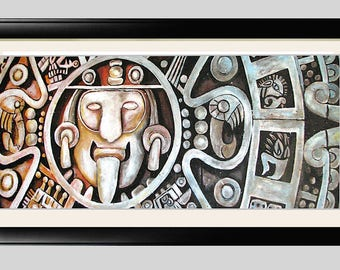 "Mayan Calendar Art Framed 22x12"" Matted Print Signed and Numbered"