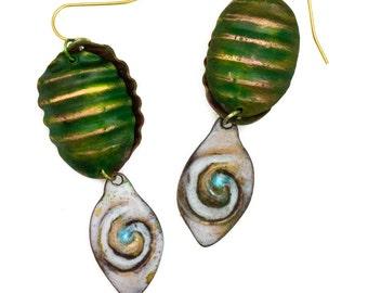 Torch Fired Enamel Evil Eye Amulet Earrings White with green beetle shell