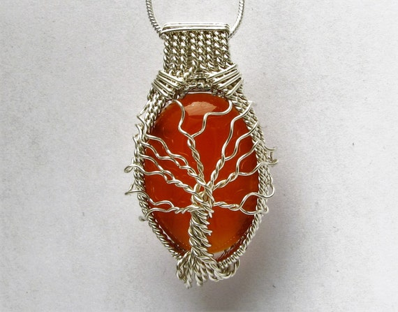 Handmade Solid Sterling Silver Wire Wrap Genealogy Tree of Life Carnelian Cabochon  Pendant