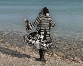 Optical Illusion extra large Wool Free frankensweater upcycled recycled gypsy coat sweater 144
