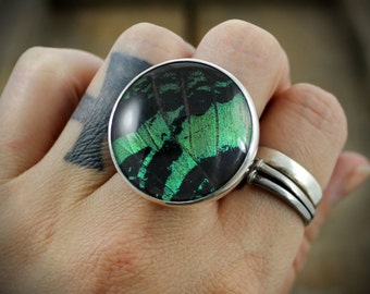 READY TO SHIP - Sterling Ring with Quartz and Naturally Shed Peacock Butterfly Wing - Size 7.5