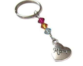 Custom Swarovski Birthstone Crystal Children Mother Mom Keychain Key Chain Bag Charm Purse Charm Mother's Day Valentine's Day Gift