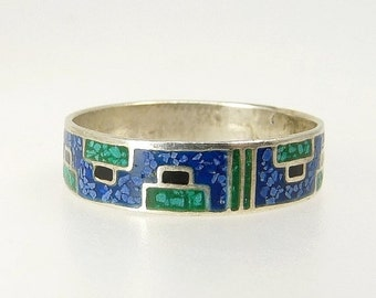 Vintage Mexico 925 Ring Turquoise Chip Cigar Band Ring