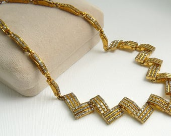 Vintage Gold Plated CZ Rhinestone Zig Zag Necklace