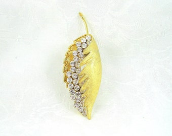 Vintage CoroCraft Brooch Leaf Rhinestone Crystal Goldtone Restored