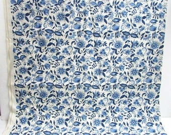 Vintage Fabric, 1 2/3 Yard of Vintage 1980's Decor Fabric, Blue and White Floral Pattern, Indian Tree Style Design, Lightweight Decor Fabric