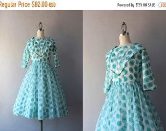 STOREWIDE SALE 1950s Dress / Vintage 50s Party Dress / 1960s Polka Dot Chiffon Dress