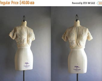 STOREWIDE SALE 1950s Cardigan / Vintage 50s 60s Sequined Bolero / 1960s White Sequined Cropped Sweater