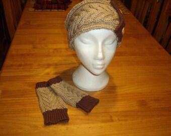 Ladies headband and fingerless gloves