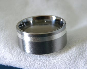 Titanium Ring with Offset 2mm Silver Inlay, Wedding Band AX89, Mens Ladies Ring
