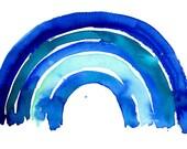 Big Blue Rainbow Archival Wall Art Print Kids Decor Blue