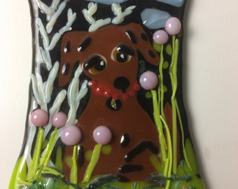 brown puppy dog with soulful eyes suncatcher fused glass