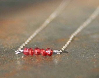 January Birthstone Necklace, Garnet Necklace, Birthstone Jewelry, Garnet Line Necklace, Birthstone Line Necklace, Birthday Necklace