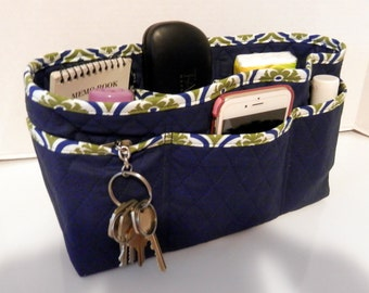 "Purse Organizer Insert/Large/Quilted/4"" Enclosed / Navy with Navy and Olive Print Lining"