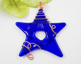 Cobalt Blue Glass Star Ornament - Blue Fused Glass Star Suncatcher - Wire Wrapped Christmas Star - Holiday Decoration