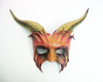 Freaky Creature Forest Goat Leather Mask with long horns