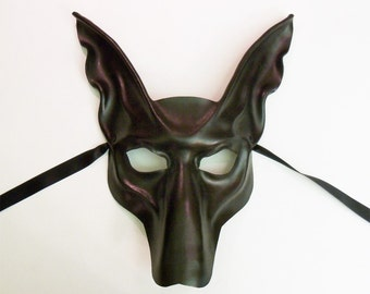 Black Jackal Pharaoh Hound Leather Mask    Anubis Egypt Egyptian Dog  lightweight and easy to wear