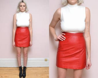 Vintage 80s Red Leather Mini Skirt // Berman's High Waist Leather Skirt - 26 inch waist