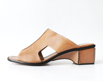 1990's Cut Out Tan Leather Slides Platforms