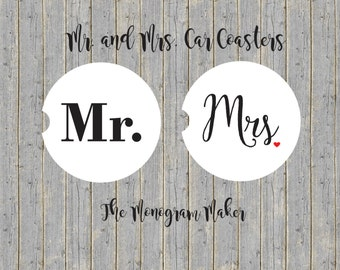 SET OF TWO Mr. and Mrs. Car Coasters Monogrammed Car Coasters Wedding Gift