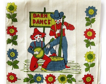 Barn Dance Tea Towel / Banjo Player / Red, Yellow, Blue and Green on Natural Linen / Music Theme / Hoedown / Square Dance