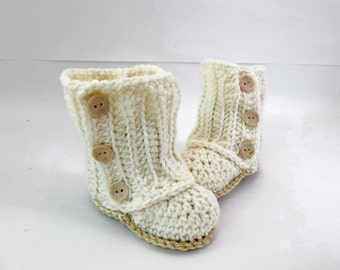 Baby Wrap Booties Natural Crochet Booties 0-6 Month Size Baby Shoes