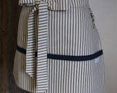 Vendor  Apron - Teacher Apron - Waitress Apron - Red Ticking Fabric - Hostess Gift - Baking Apron - Personalized Apron - Key Clasp Apron