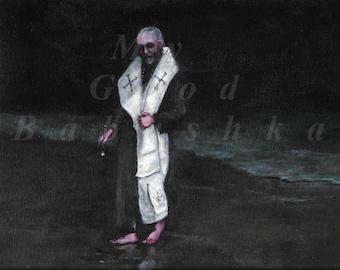 Blessing The Water, Original Painting, Ocean, Sea, Beach, Night, Religion, Priest, Bishop, Ritual, Spirituality, Aspergillum, Holy Water