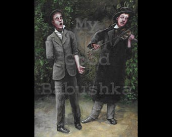 The Song of the One-Armed Man, Original Painting, Music, Violin, Duet, Musician, Singing, Portrait, Two, Surreal, Strange, Oddity, Weird