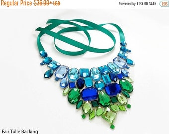 CYBER WEEK SALE Blue and Green Rhinestone Bib Necklace, Blue and Green Statement Necklace, Mermaid Bib Necklace, Green and Blue Jeweled Stat