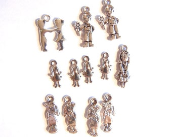 Set of 12 Small Silver-tone Children Charms Girls Boys