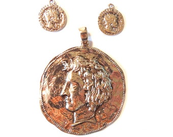 Set of Ancient Roman Coin Pendant and Charms in Antique Gold-tone