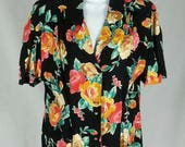 Vintage Carole Little rayon skirt and top outfit 2pc Made in USA size 12 chest 42 hips 46 medium large