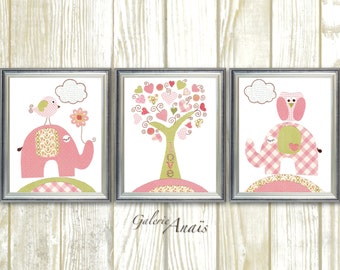 Baby Girl Nursery Decor Art Prints Elephant Home Décor Nursery Kids Wall Art Tree Owl Nursery Bird Set of 3 Prints Tree Of Love