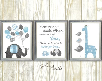 Baby boy nursery decor Elephant Nursery art First we had each other Quote blue gray nursery giraffe nursery Bird Kids  Art Set of 3 prints