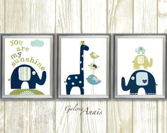 Baby boy nursery decor kids room decor navy blue green nursery wall art-  elephant - birds - giraffe - three prints You are My Sunshine
