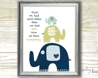 Baby Boy Nursery Decor Nursery wall art Quote First we had each other Nursery art Kids wall art navy green blue elephant nursery - The Trio
