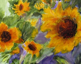Original Art, Sunflowers Acrylic Painting, Beautiful Wall Decoration, Yellow Green soft Purple