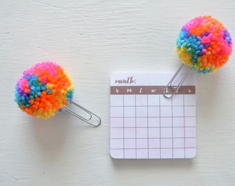 Rainbow Swirled Yarn Pom Pom Clips - Set of 2 - Planner clips, book marks, planner accessories, teacher gift