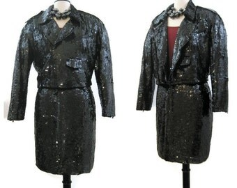 Vintage 80s Suit Black Sequin  Moto Motorcycle Jacket and Mini Skirt M L