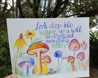 Original Watercolor Hand Lettered Illustration- Einstein Quote- Look deep into nature you will understand everything better