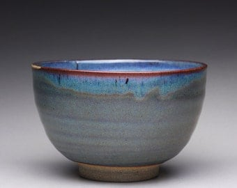 handmade pottery bowl, ceramic serving bowl with dark green blue and white ash glazes