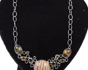 VINTAGE Sterling Silver 925 PATE DE verre and tigers eye necklace w/ tourmaline