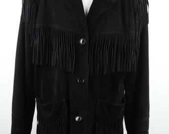 SANTACROCE Italian VINTAGE Black Suede FRINGED jacket oversized fit